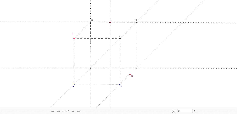 Umísti červené body řezné roviny a zobraz si kroky konstrukce řezu krychle rovinou KLM.