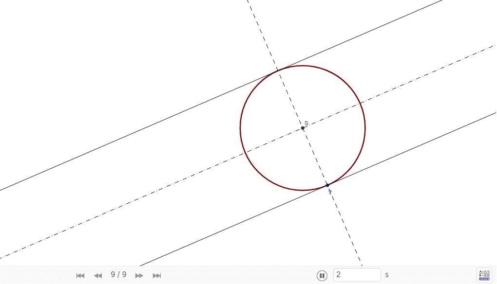 Sestrojte kružnici l, která se dotýká dvou rovnoběžných přímek p, q a prochází bodem T, který leží na jedné z přímek