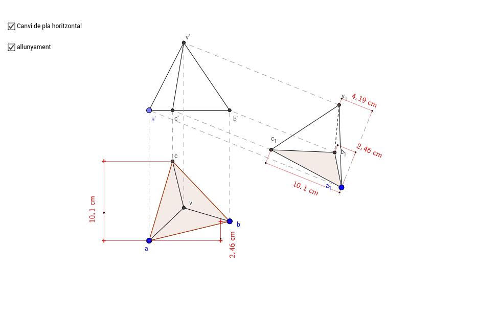Canvi de pla horitzontal d'un tetraedre.