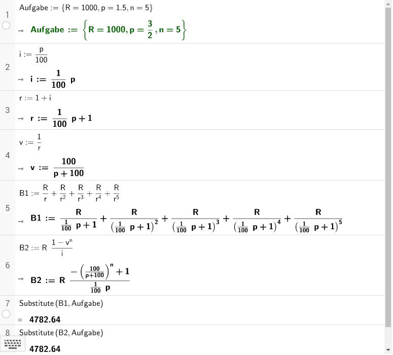 Barwert = Summe einer geometrischen Reihe