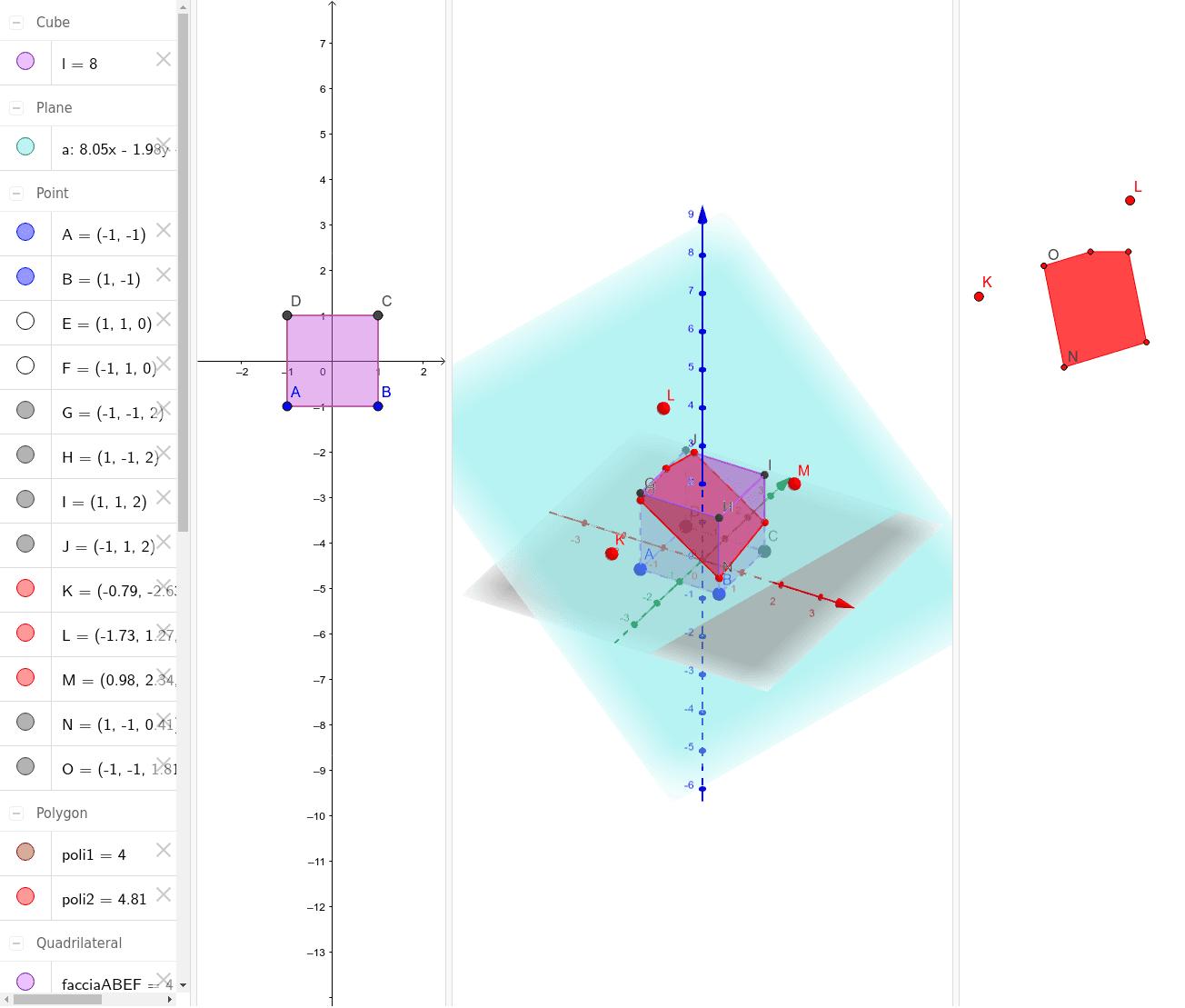 Esplorazione delle sezioni di un cubo con un generico piano (dato con tre punti) Premi Invio per avviare l'attività