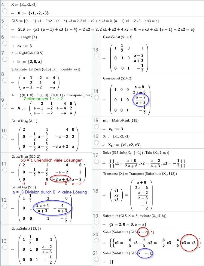 Beispiel 3x3 mit Parameter a
