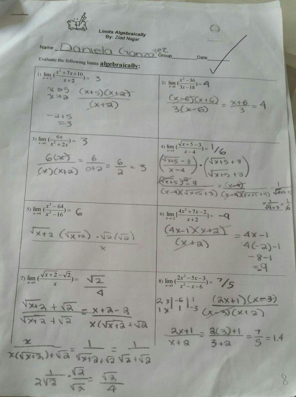 Limits Algebraically