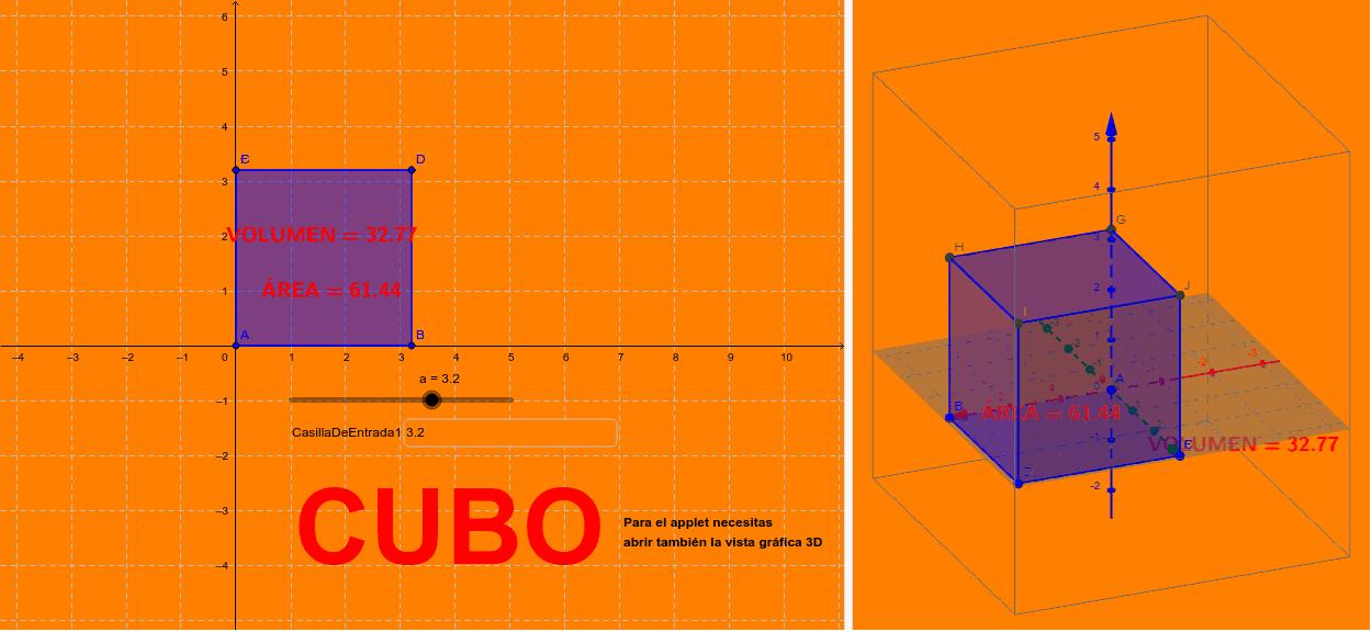 CUBO (CON SU ÁREA Y VOLUMEN)
