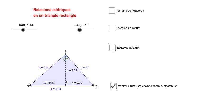 JMV - relacions mètriques en un triangle rectangle