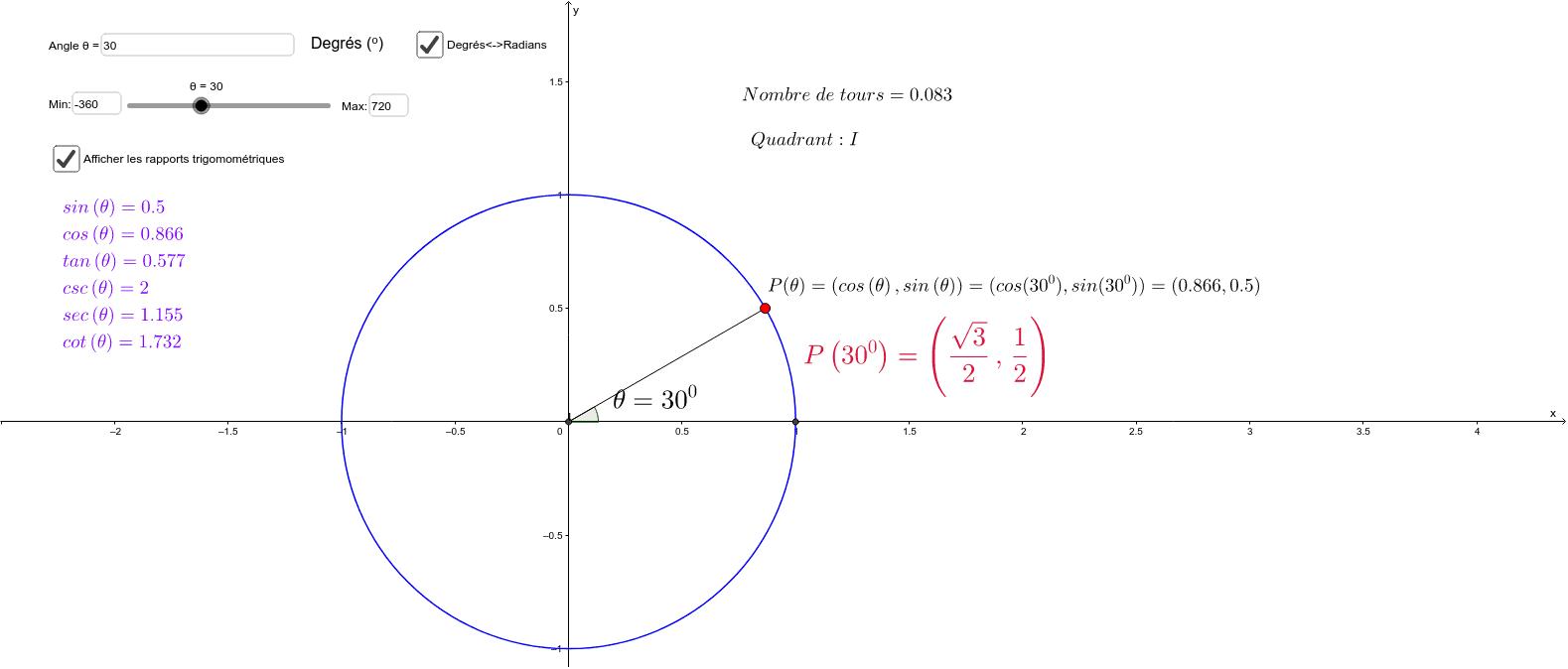 """Cercle trigonométrique (points remarquables et autres points) Tapez """"Entrée"""" pour démarrer l'activité"""