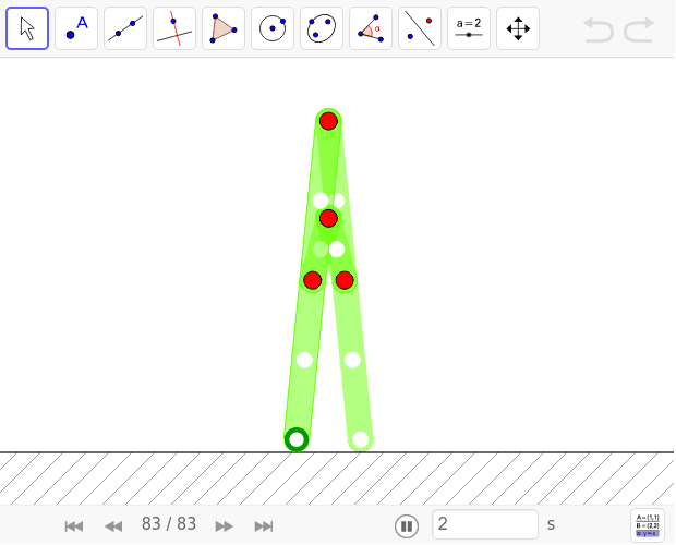 Move the green point  and observe the stairway's movement. Press Enter to start activity