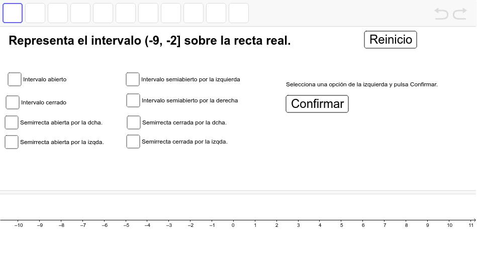 1: selecciona el tipo de intervalo. 2: pulsa Confirmar. 3: mueve los puntos hasta que se adapten al intervalo. 4: pulsa Comprobar.