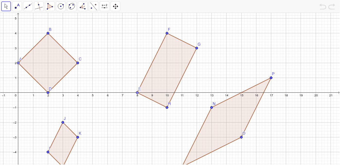 Determine which figure represents each type of parallelogram.  Use Geogebra to determine various characteristics of each (i.e. slope and lengths) Press Enter to start activity