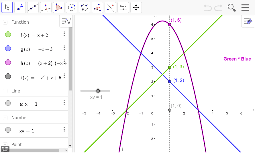 Type your first line into f(x) and your second line into g(x).  h(x)=f(x)*g(x) {geogebra does this}.  Type the resulting parabola in standard form in i(x).  It should overlap h(x).