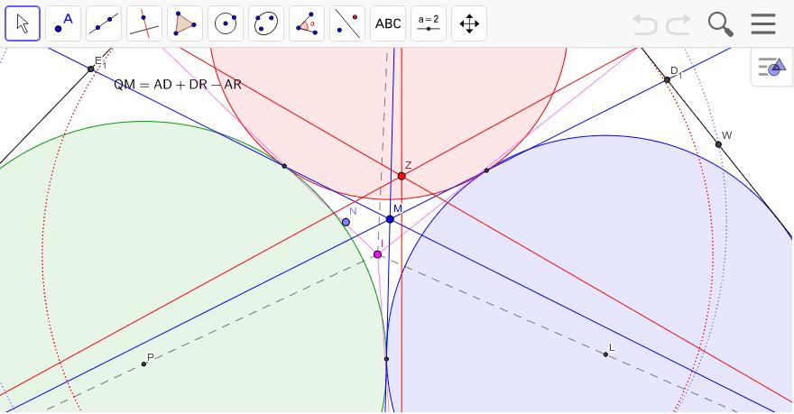 Iは内心、Nは9点円の中心、Mは安島マルファッチ点、Zは内接円の接点と頂点を結んだ線の交点。 ワークシートを始めるにはEnter キーを押してください。
