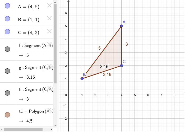 Congiungi i lati del triangolo ABC, applica etichette misure lati e area triangolo costruito Premi Invio per avviare l'attività