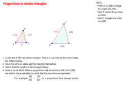 Proportions in similar triangles