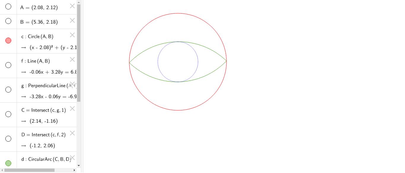 L'oeil du cyclope - Rayon bleu = (V2 - 1)* rayon rouge. Que vaut l'aire intérieure verte divisée par l'aire intérieure rouge ? Press Enter to start activity