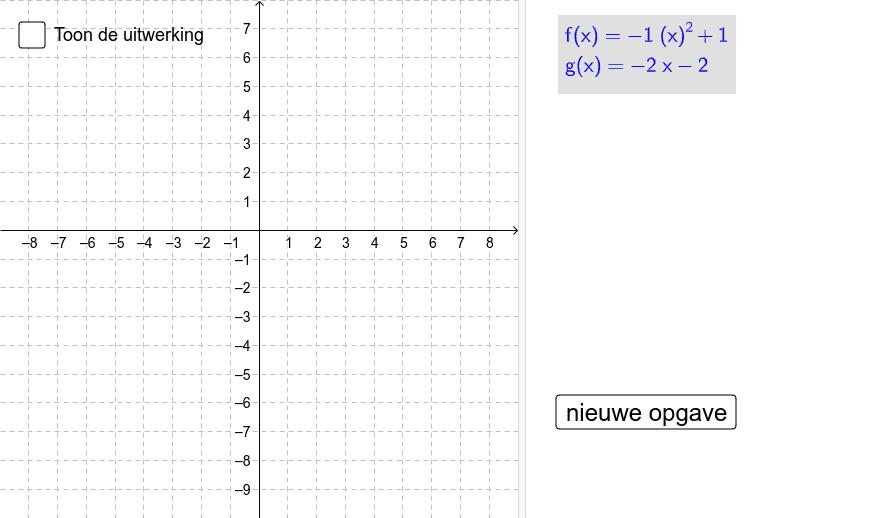 Bereken de oppervlakte, begrensd door de grafieken van f en g Klik op Enter om de activiteit te starten