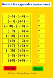 Operaciones de números enteros