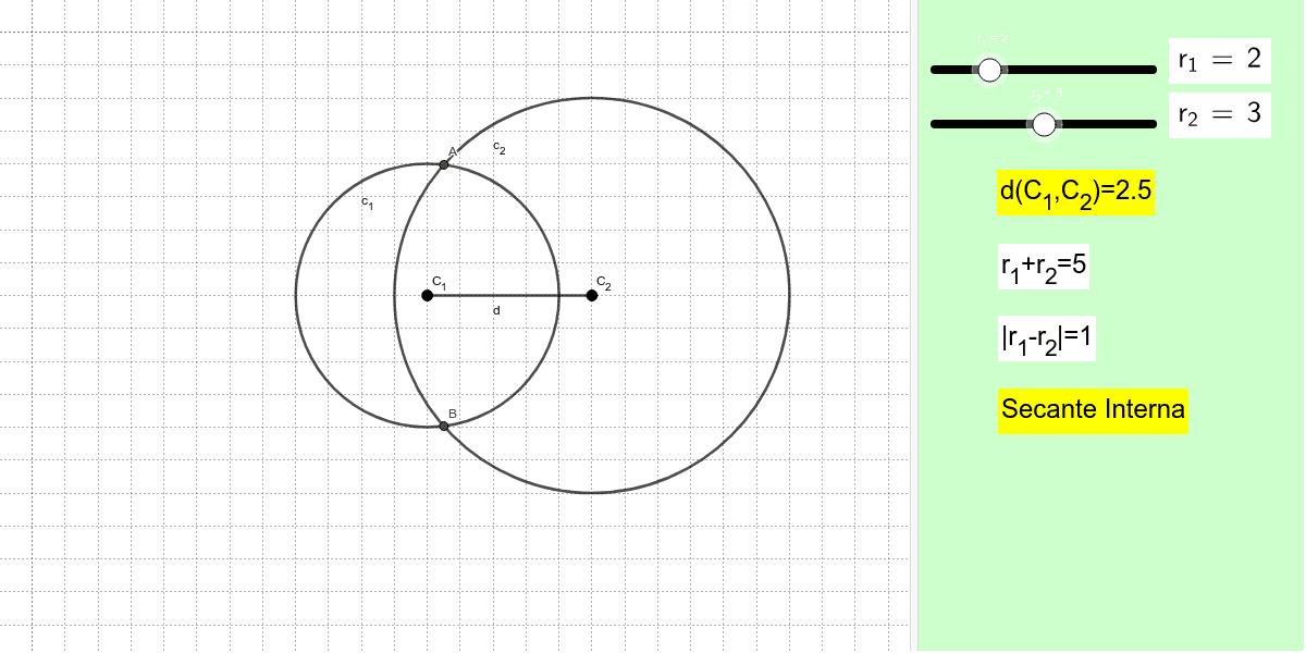 Sposta i centri delle circonferenze per cambiare la loro distanza oppure modifica le misure dei raggi nella console di destra Premi Invio per iniziare l'attività
