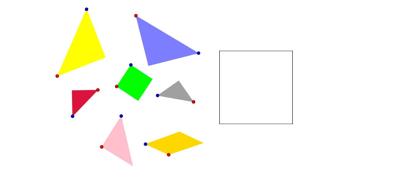 """Reconstitue le carré à l'aide des pièces de couleur que tu peux déplacer à l'aide du point bleu et orienter à l'aide du point rouge. Tapez """"Entrée"""" pour démarrer l'activité"""