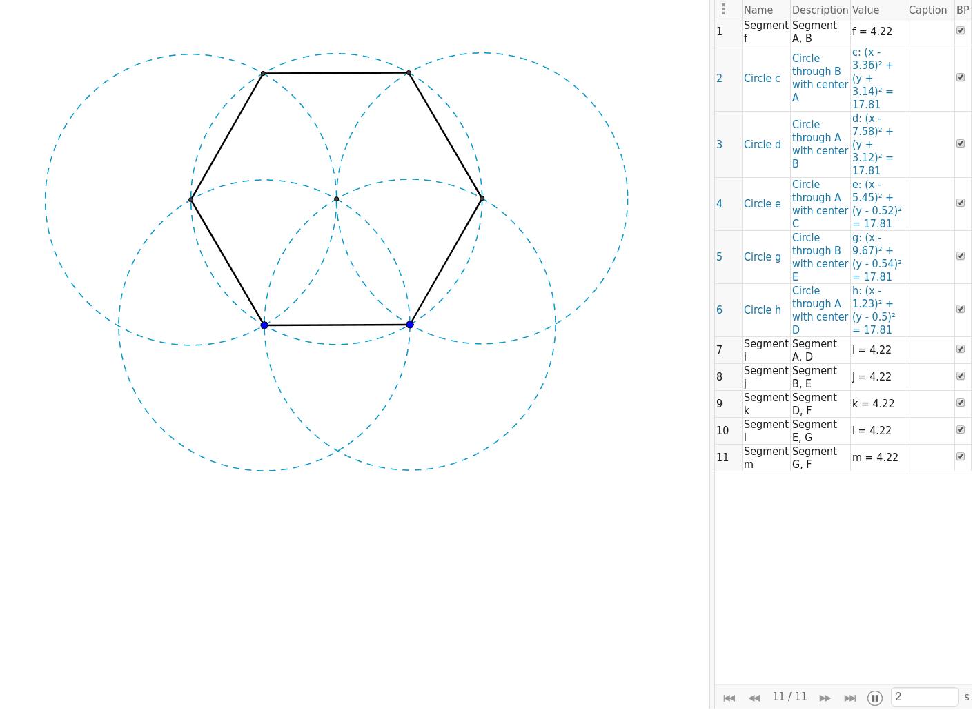 Instruccions pas a pas per dibuixar gràficament un hexàgon regular.
