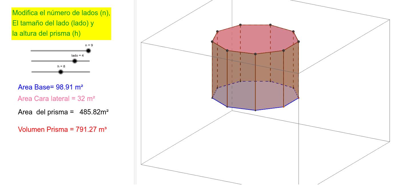 Calculo de áreas y volúmenes de un prisma – GeoGebra
