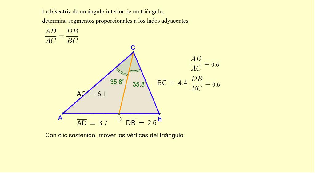 Bisectriz De Un Angulo Interior De Un Triangulo Geogebra