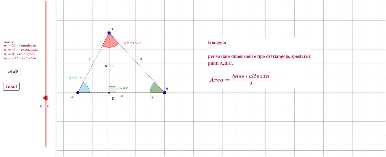 per mostrare le diverse figure far scorre lo slider n_1 o inserire un valore in [vai a] (-30,-15,0,+15,+30+45) con riferimento all'indice + variante allegata Premi Invio per iniziare l'attività
