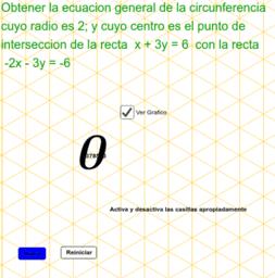 Circunferencia con centro en la intersección de 2 rectas