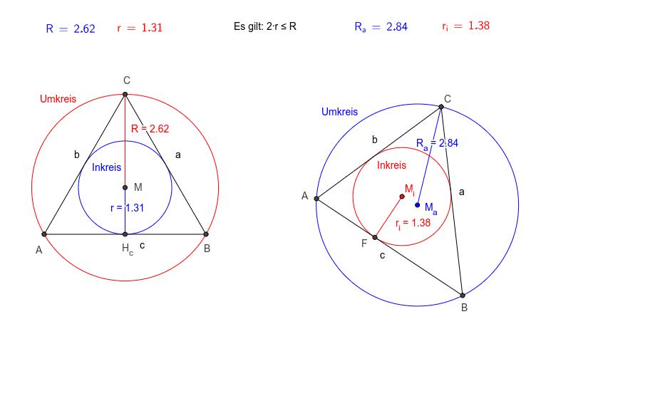 Vergleiche den Inkreisradius mit dem Umkreisradius.