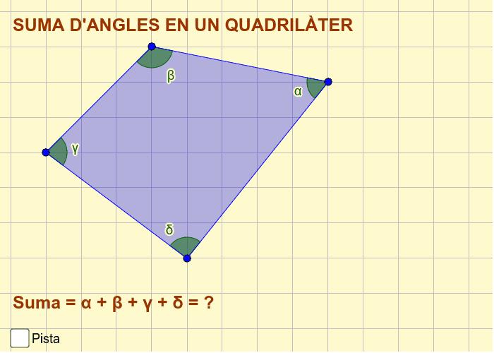 Quan sumen els angles interiors en un quadrilàter? Fes una construcció amb el geogebra per comprovar-ho