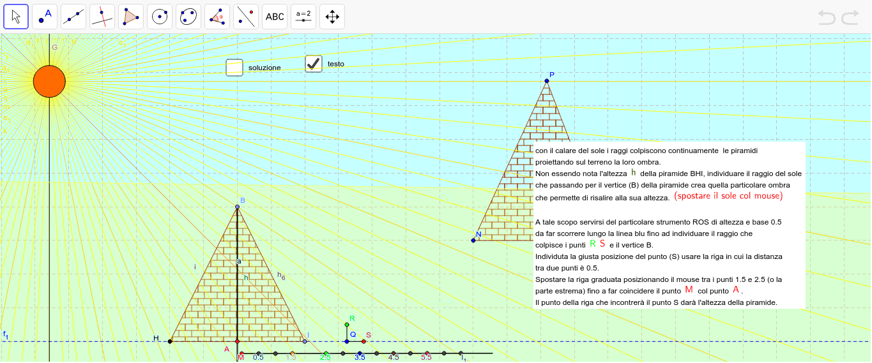 ck.re su soluzione ed individuare il raggio rosso-muovere il punto B per cambiare l'altezza Premi Invio per avviare l'attività