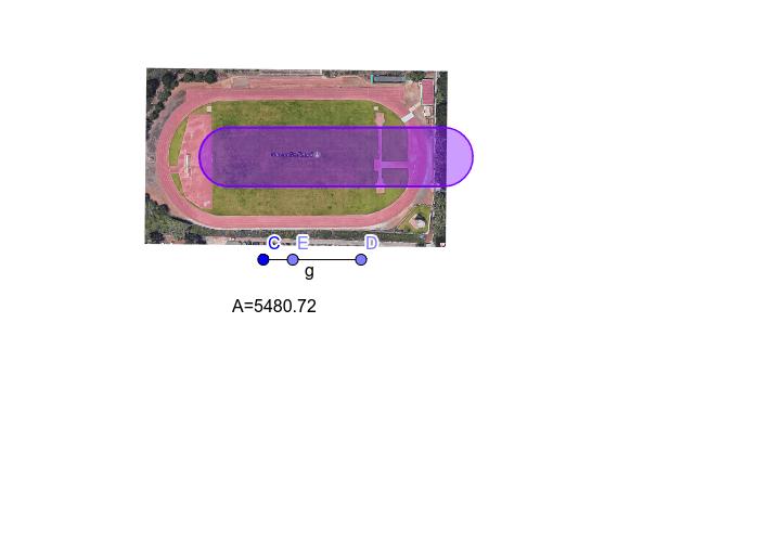 Investigar el área que queda encerrada en una pista de atletismo