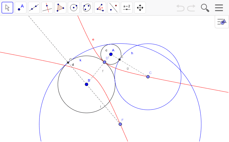 CやFを動かしてみよう。接する円の中心はAとBを焦点とする双曲線上にある。