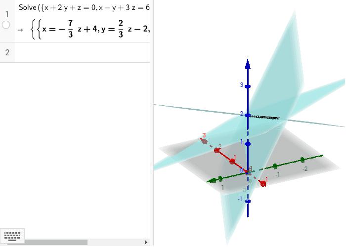 En la segunda figura se ven tres planos que se intersectan en una recta (sistema consistente indeterminado).