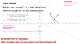 """Fractal y trayectoria para raíz cuártica de """"i"""""""