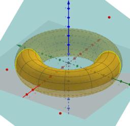 Intersecció d'un torus i un pla definit per tres punts
