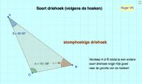 Indeling van de driehoeken volgens hoeken (verslepen punt).
