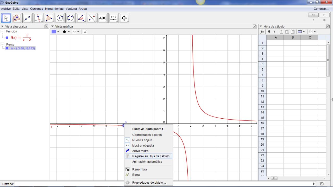 """Luego de insertar un punto en el gráfico (opción punto sobre objeto), lo movemos y elegimos la opción """"registro en hoja de cálculo"""", les permitirá registrar las coordenadas del punto. Puede ser una posible aplicación para la introducción de límites en un punto"""