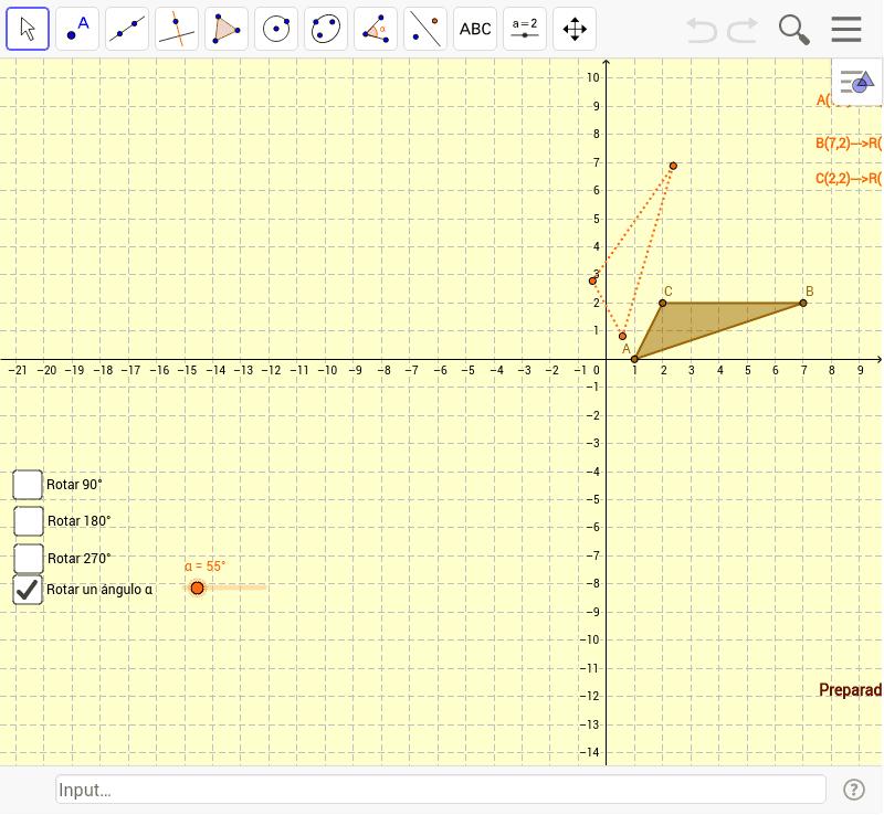 Rotaciones en el plano centradas en el origen Presiona Intro para comenzar la actividad