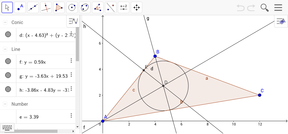 ... del triangle de vèrtexs A=(0,0), B=(4,5) i C=(12,2)...