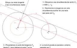 Recta tangente exterior a dos circunferencias dadas, de distinto radio