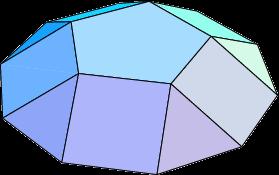 Een vijfhoekige koepel heeft een vijfhoekig bovenvlak en een tienhoekig grondvlak. De  zijvlakken zijn 5 vierkanten en 5 gelijkzijdige driehoeken, die elkaar afwisselen.