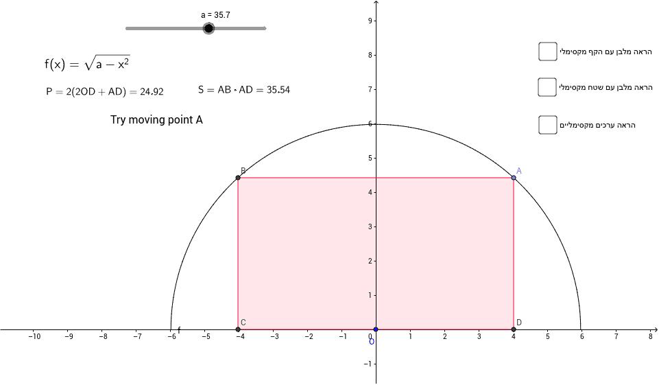 maximal area and perimeter in semi-circle