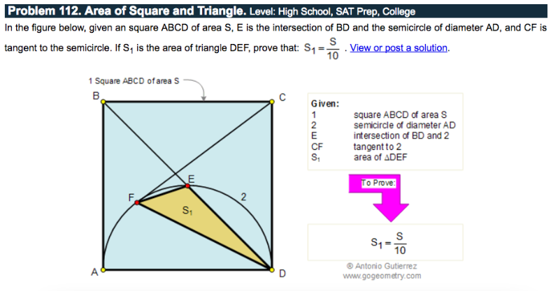 Inspired by http://www.gogeometry.com/problem/p112_area_square_elearning.htm