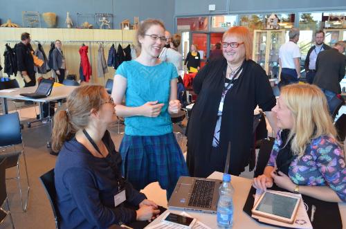 Laura (Finland), Bea (Iceland), Sirje (Estonia) and Kristi (Estonia) sharing ideas. Photo by [url=https://plus.google.com/+MikkoRahikka]Mikko Rahikka[/url].