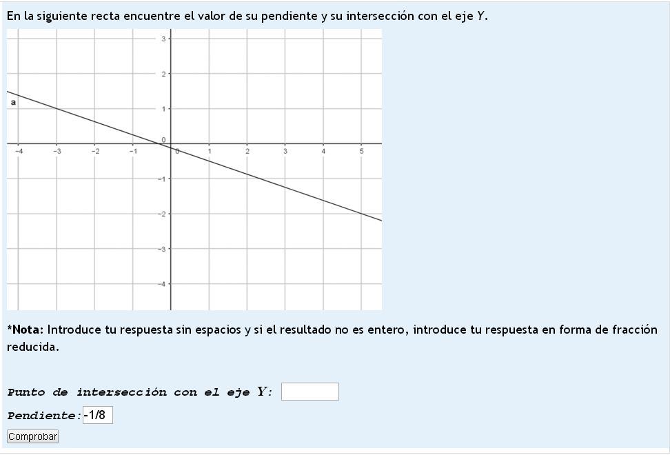 pendiente  m=y2-y1/x2-x1 Tomando dos puntos punto(-3,-1) punto(5,-2) tenemos que  m=-2-(-1)/5-(-3) m=-2+1/5+3 m=-1/8