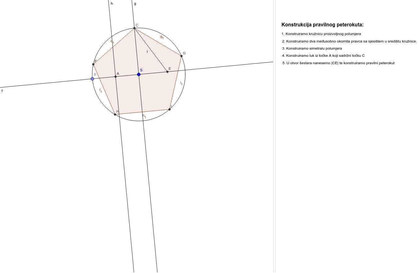 Konstrukcija pravilnog peterokuta Pritisnite Enter za pokretanje.
