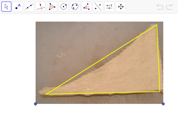 Try to split this triangle into 4 or 5 triangles that are as close to the same area as possible. Press Enter to start activity