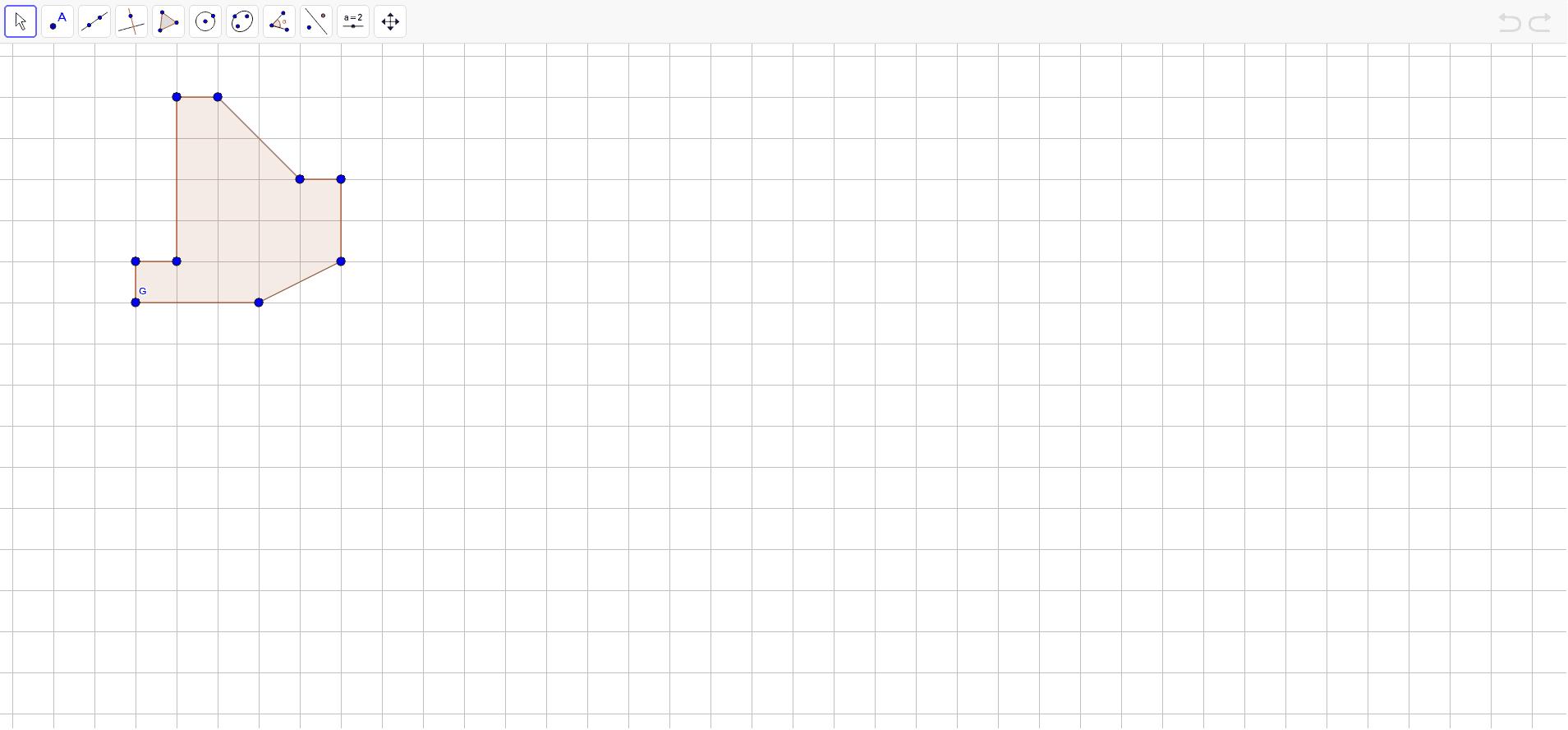 """Zarotirati nacrtan lik oko točke G u smjeru kazaljke na satu za 90 stupnjeva. Provjeriti točnost rješenja uz pomoć alata """"rotate around point""""."""
