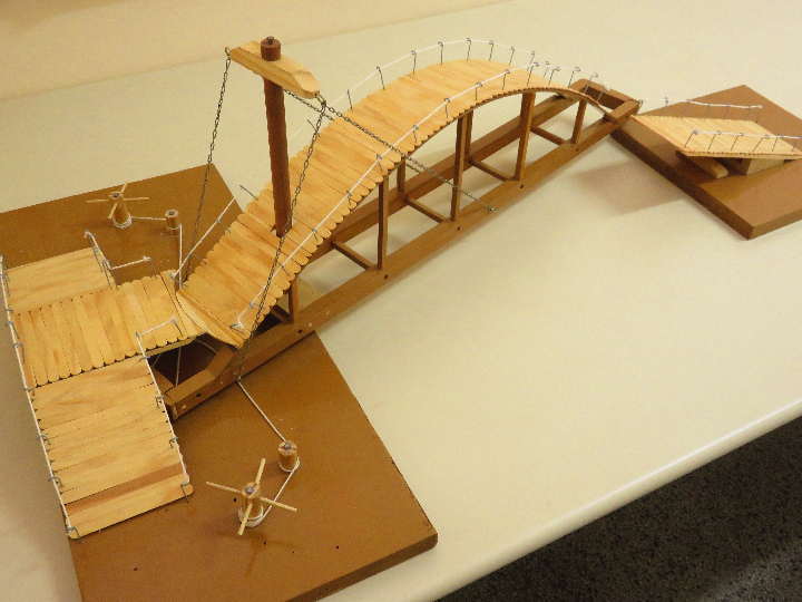 Da Vinci's rotary bridge prototype, developed by vocational students, in 2015.