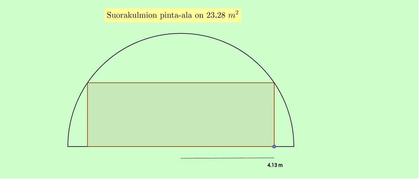 Tutki pinta-alan muuttumista siirtämällä suorakulmion nurkkapistettä. Paina Enter aloittaaksesi